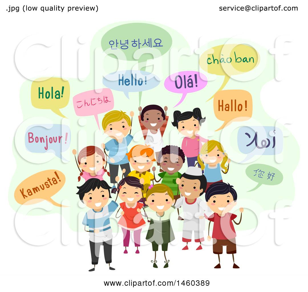 hight resolution of clipart of a group of children and speech bubbles saying hello in different languages royalty