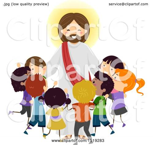 small resolution of clipart of a group of children embracing jesus christ royalty free vector illustration by bnp