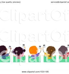 clipart of a group of children holding up clickers in class royalty free vector illustration [ 1080 x 1024 Pixel ]