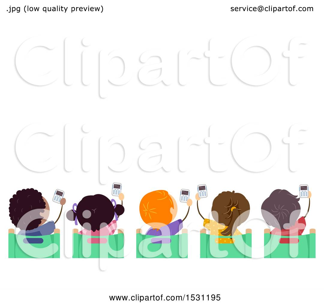 hight resolution of clipart of a group of children holding up clickers in class royalty free vector illustration