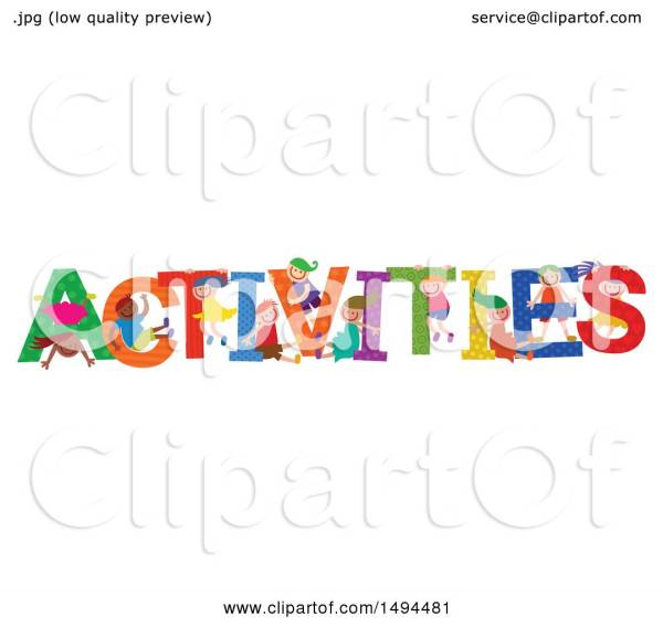 Clipart Of Group Children Playing In Colorful