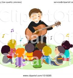 clipart of a group of children singing with a priest as he plays a guitar royalty free vector illustration by bnp design studio [ 1080 x 1024 Pixel ]