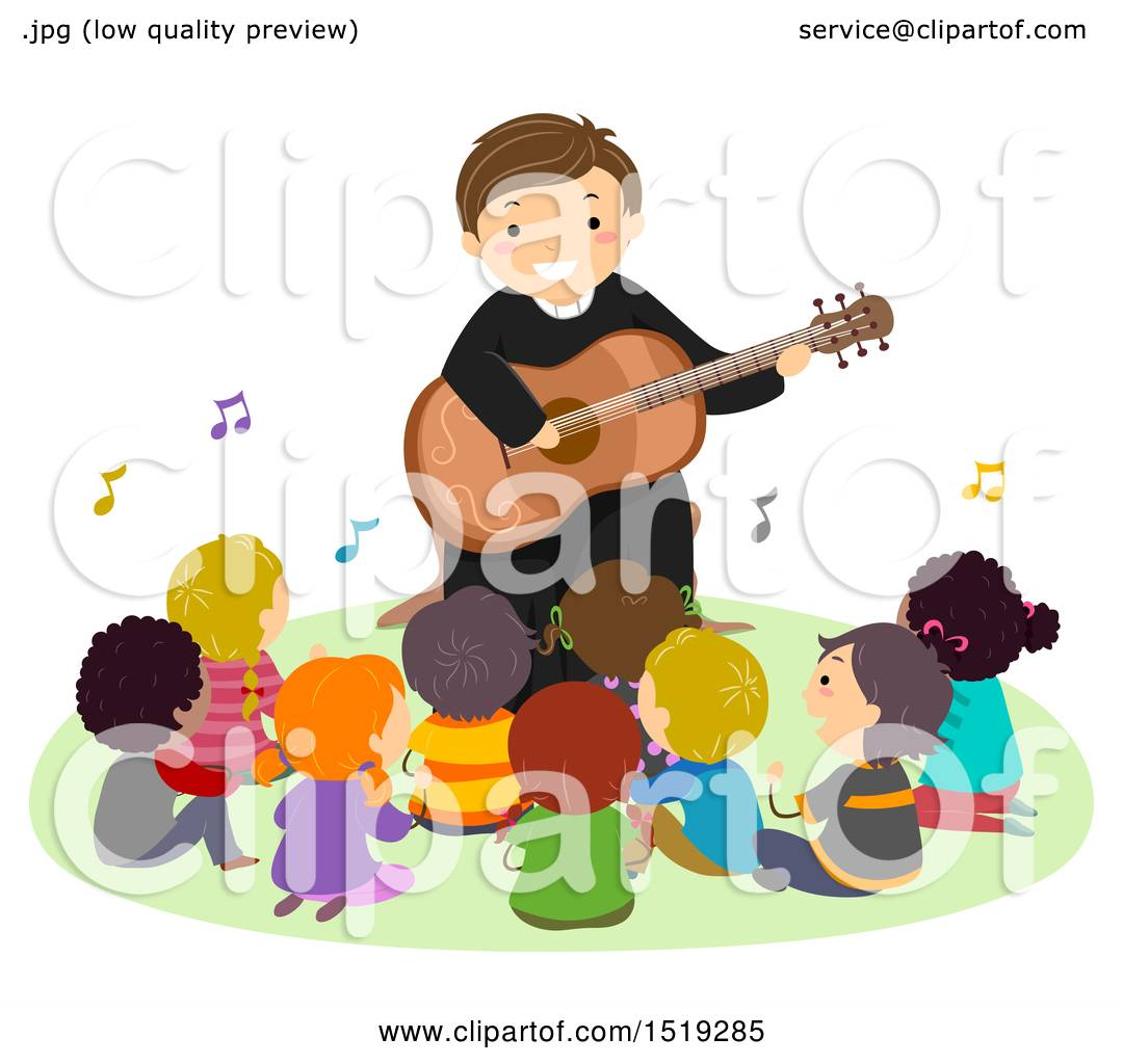 hight resolution of clipart of a group of children singing with a priest as he plays a guitar royalty free vector illustration by bnp design studio