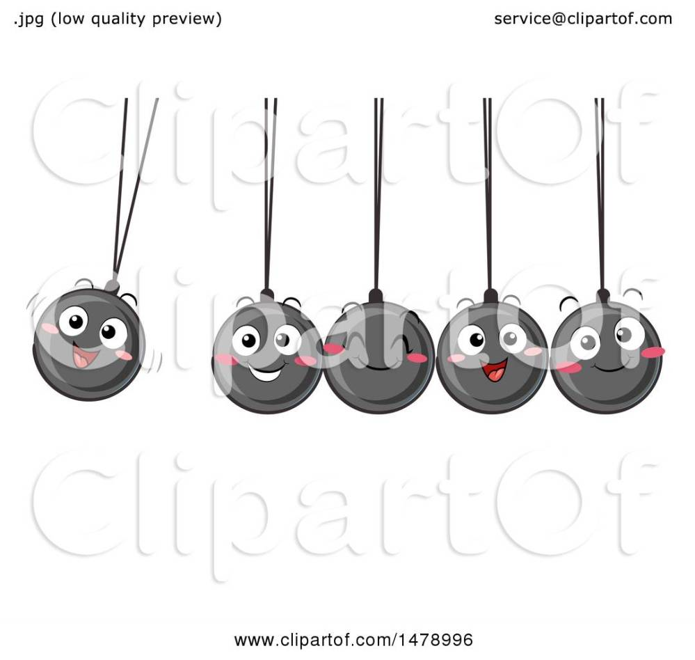 medium resolution of clipart of a group of happy newtons cradle balls swinging royalty free vector illustration by