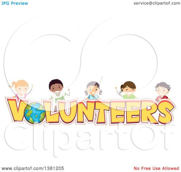 Clipart Of Group Happy Stick Children Over Volunteers
