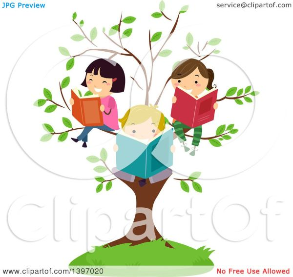 Clipart Of Group Happy Students Reading Books Tree