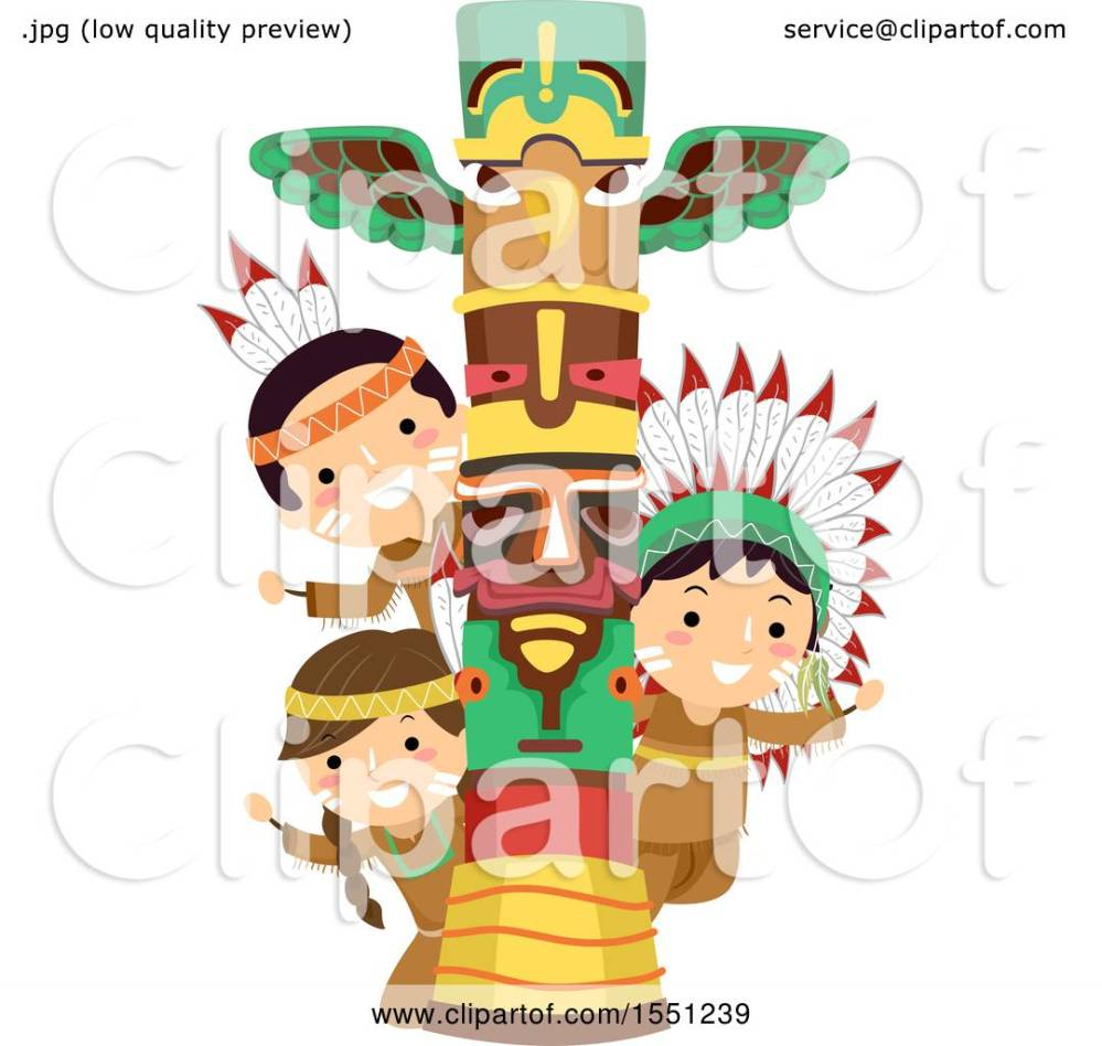 medium resolution of clipart of a group of native american indian children with a totem pole royalty free