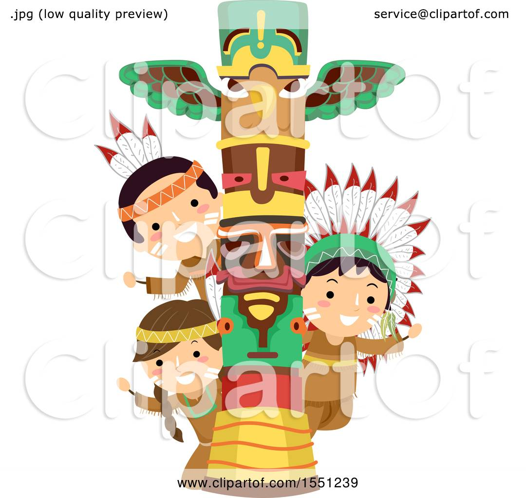 hight resolution of clipart of a group of native american indian children with a totem pole royalty free