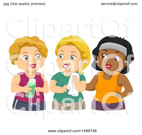 small resolution of clipart of a group of senior woman in workout gear royalty free vector illustration by