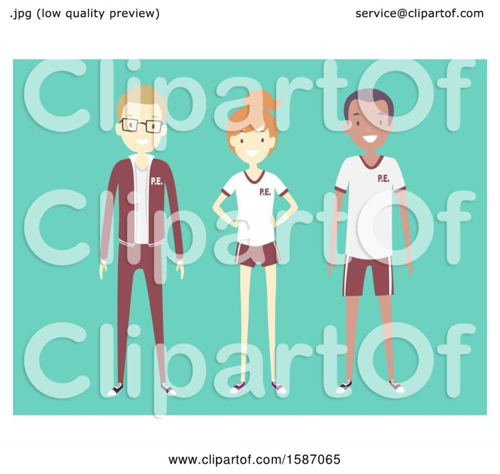 medium resolution of clipart of a group of teens in pe uniforms royalty free vector illustration by bnp