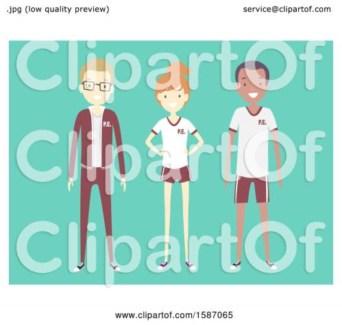 small resolution of clipart of a group of teens in pe uniforms royalty free vector illustration by bnp