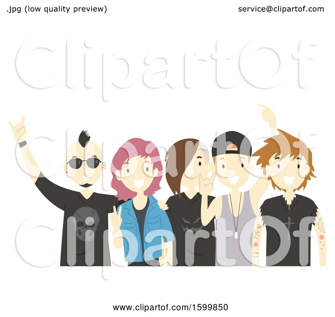 hight resolution of clipart of a group of teens with a rock band royalty free vector illustration by