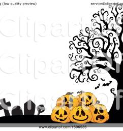 clipart of a halloween background with jackolantern pumpkins in a cemetery royalty free vector illustration [ 1080 x 1024 Pixel ]