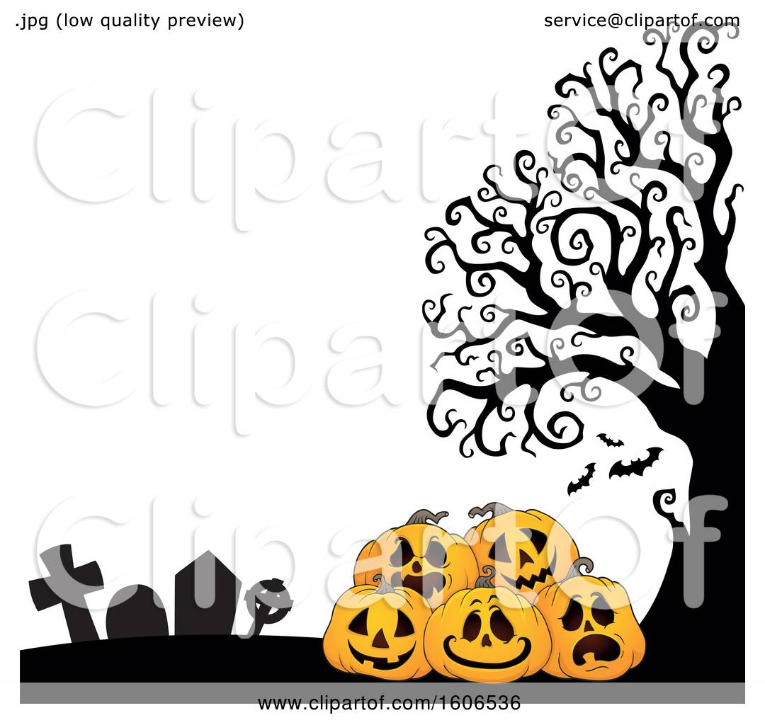 hight resolution of clipart of a halloween background with jackolantern pumpkins in a cemetery royalty free vector illustration