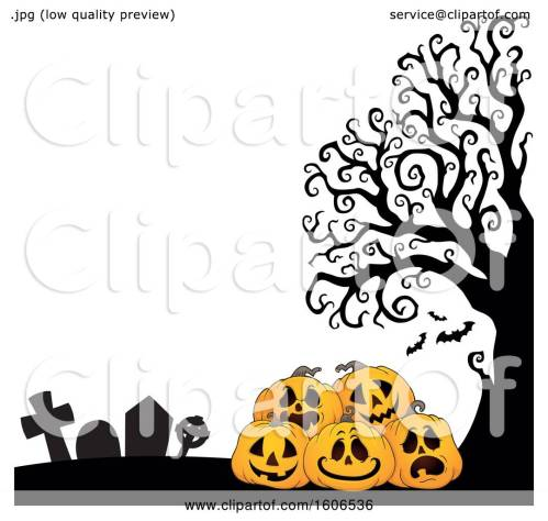 small resolution of clipart of a halloween background with jackolantern pumpkins in a cemetery royalty free vector illustration