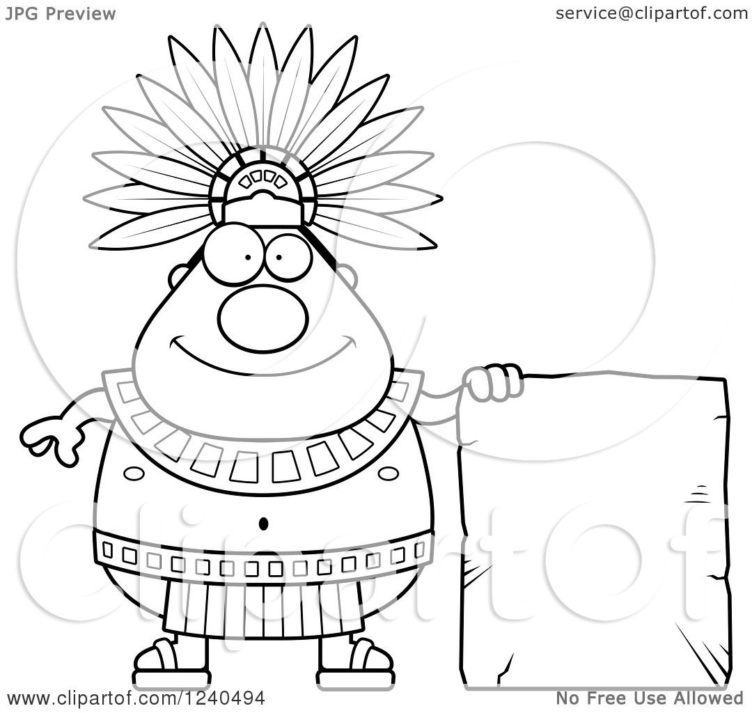 Clipart Of A Happy Aztec Chief King