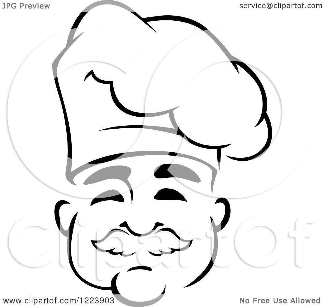 Clipart of a Happy Black and White Middle Aged Chef with a
