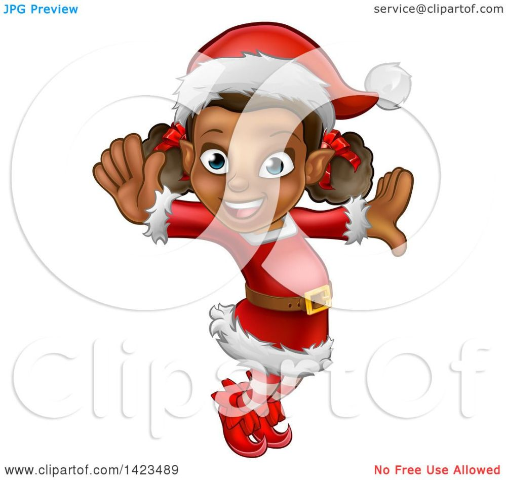 medium resolution of clipart of a happy black female christmas elf jumping or dancing royalty free vector illustration