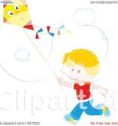 clipart of a happy blond caucasian boy running and flying a kite royalty free vector illustration by alex bannykh [ 1080 x 1024 Pixel ]
