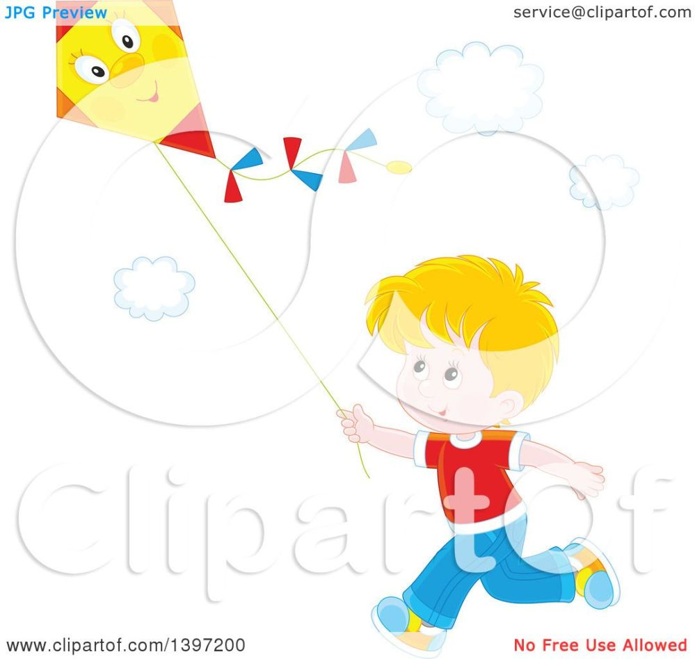 medium resolution of clipart of a happy blond caucasian boy running and flying a kite royalty free vector illustration by alex bannykh