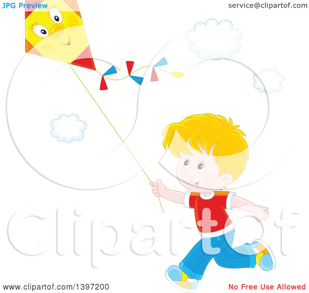 hight resolution of clipart of a happy blond caucasian boy running and flying a kite royalty free vector illustration by alex bannykh
