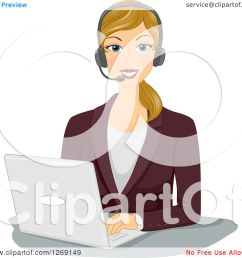 clipart of a happy blond caucasian businesswoman wearing a headset and working on a laptop  [ 1080 x 1024 Pixel ]