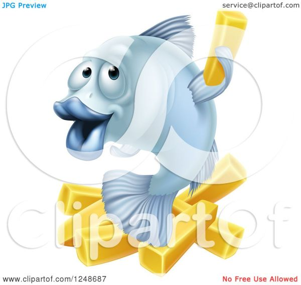 Clipart Of Happy Blue Fish And Chips Fries - Royalty