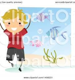 clipart of a happy boy at an aquarium for a field trip royalty free vector illustration [ 1080 x 1024 Pixel ]