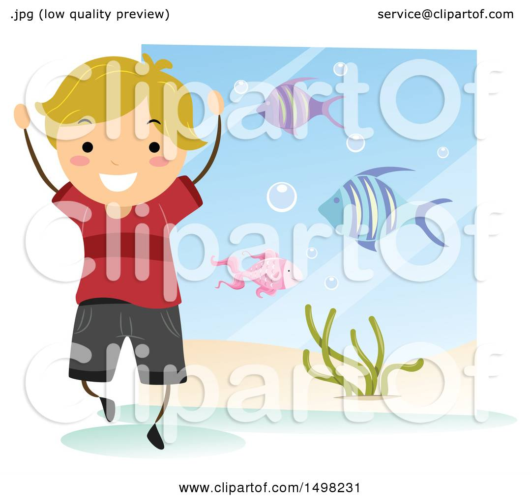 hight resolution of clipart of a happy boy at an aquarium for a field trip royalty free vector illustration