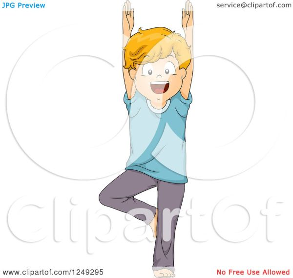 Clipart Of Happy Boy In Yoga Tree Pose - Royalty Free