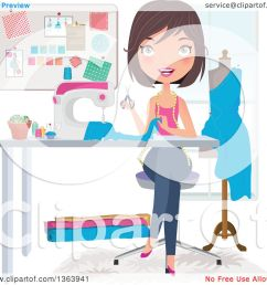 clipart of a happy brunette caucasian female fashion designer sewing a dress royalty free vector illustration [ 1080 x 1024 Pixel ]