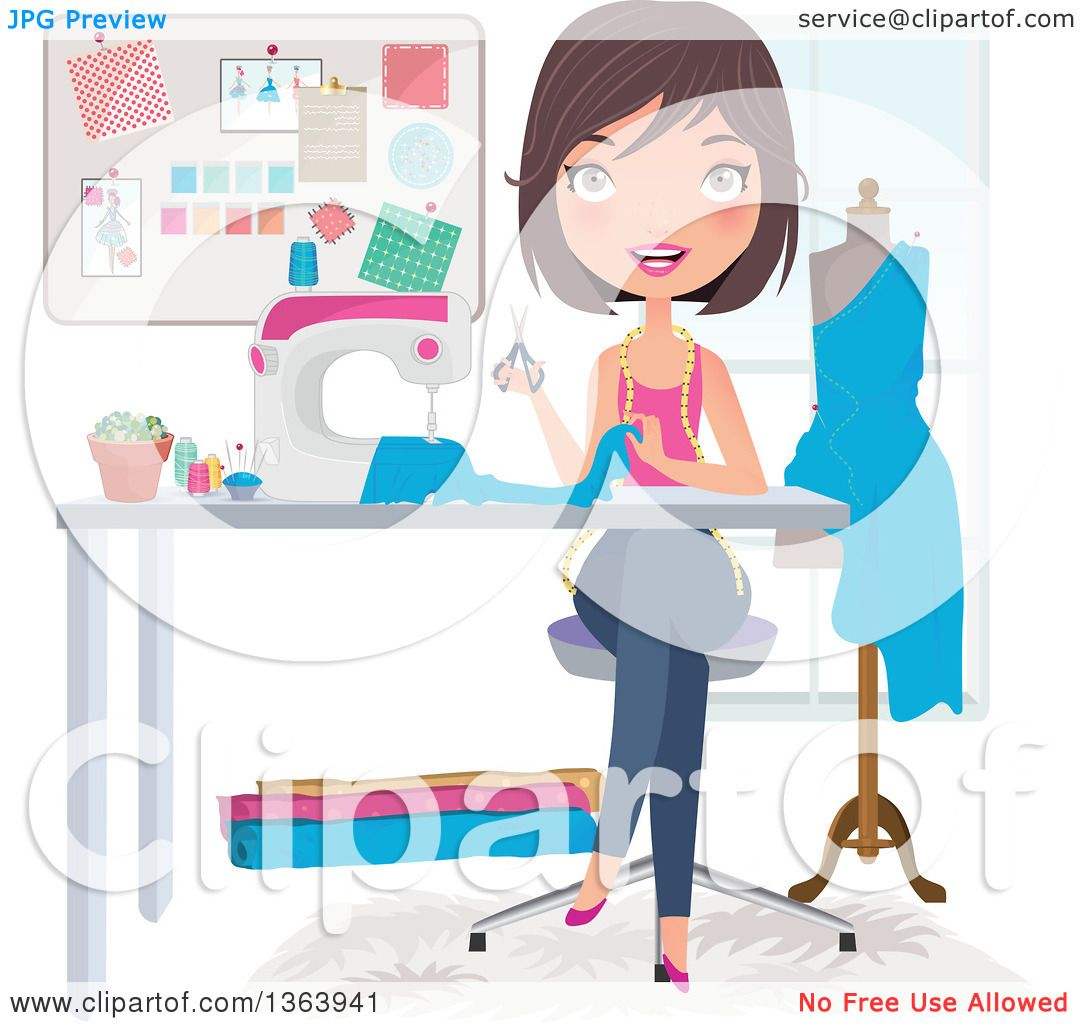 hight resolution of clipart of a happy brunette caucasian female fashion designer sewing a dress royalty free vector illustration