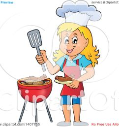 clipart of a happy caucasian girl cooking on a bbq grill royalty free vector illustration [ 1080 x 1024 Pixel ]