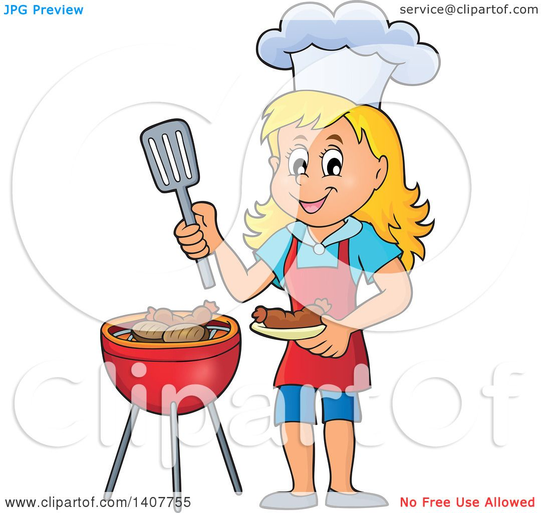 hight resolution of clipart of a happy caucasian girl cooking on a bbq grill royalty free vector illustration