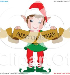 clipart of a happy christmas elf holding a merry christmas banner royalty free vector illustration [ 1080 x 1024 Pixel ]