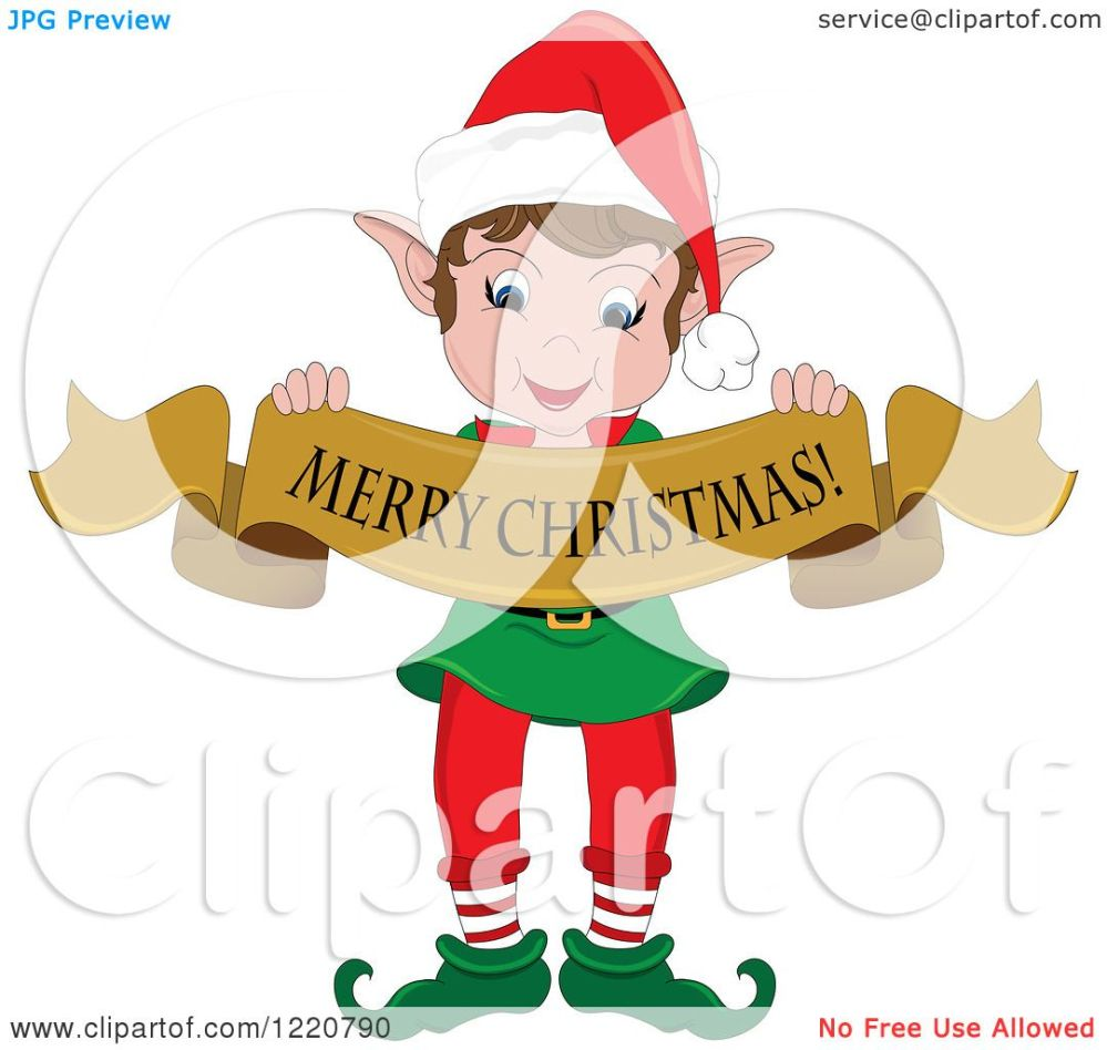medium resolution of clipart of a happy christmas elf holding a merry christmas banner royalty free vector illustration