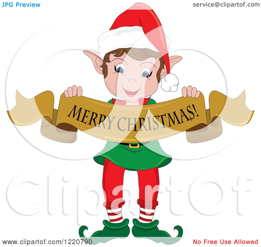 hight resolution of clipart of a happy christmas elf holding a merry christmas banner royalty free vector illustration