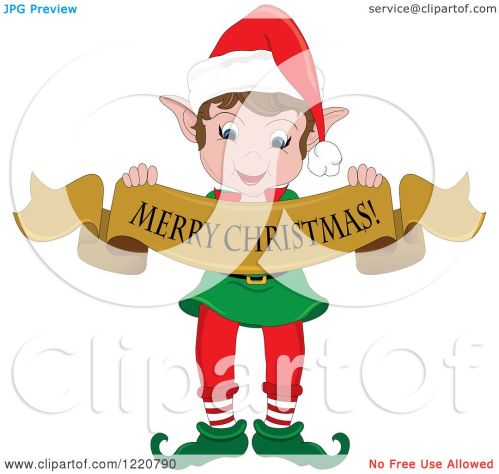 small resolution of clipart of a happy christmas elf holding a merry christmas banner royalty free vector illustration