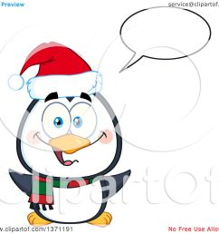 clipart of a happy christmas penguin talking and wearing a santa hat royalty free vector [ 1080 x 1024 Pixel ]