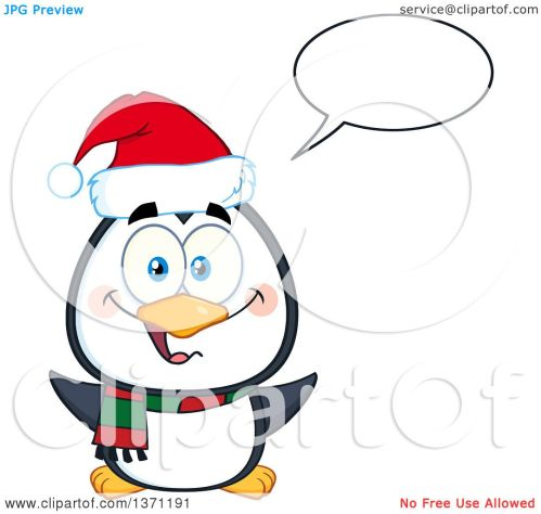 small resolution of clipart of a happy christmas penguin talking and wearing a santa hat royalty free vector
