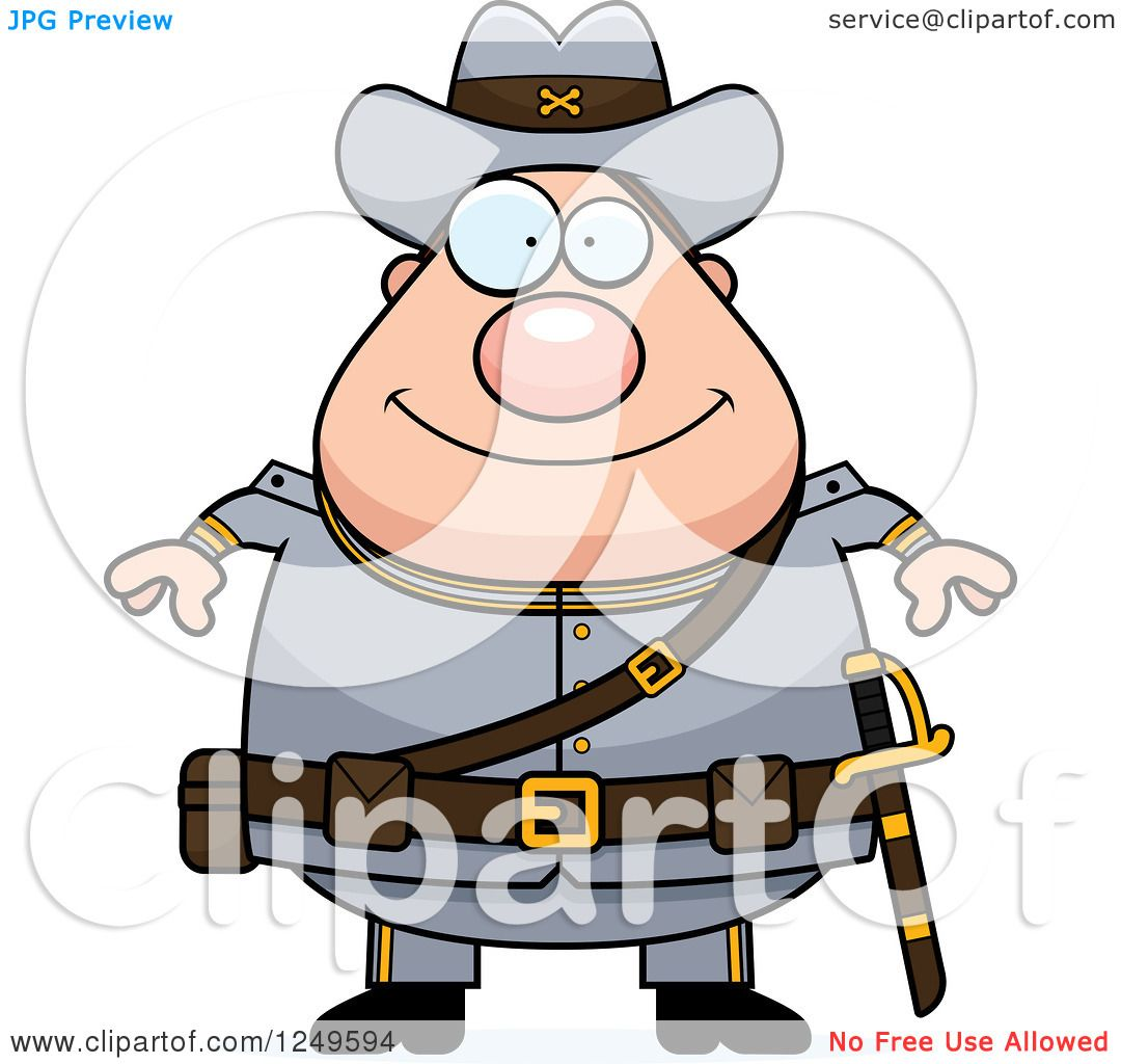 hight resolution of clipart of a happy chubby civil war confederate soldier man royalty free vector illustration