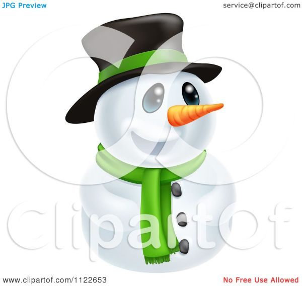 Clipart Of Happy Cute Snowman Wearing Hat And Scarf