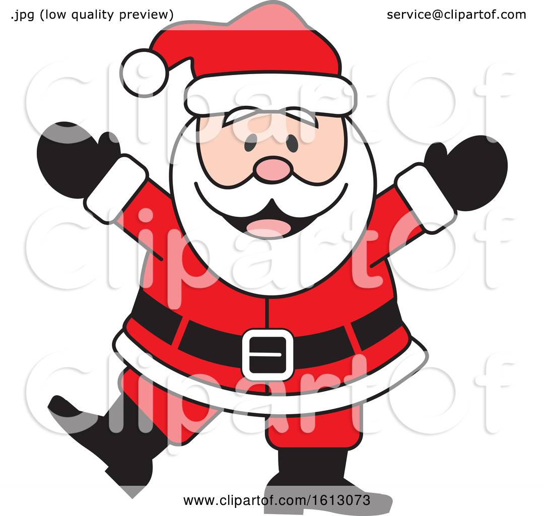 hight resolution of clipart of a happy dancing white christmas santa claus royalty free vector illustration by johnny