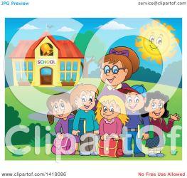 teacher female outside students building illustration happy clipart royalty visekart vector