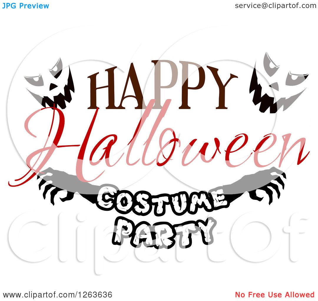 Clipart Of A Happy Halloween Greeting With Jackolantern