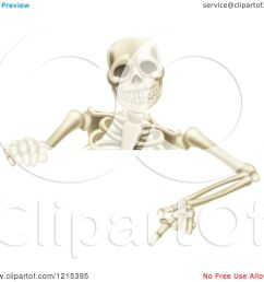 clipart of a happy human skeleton pointing down to a halloween sign royalty free vector illustration by atstockillustration [ 1080 x 1024 Pixel ]