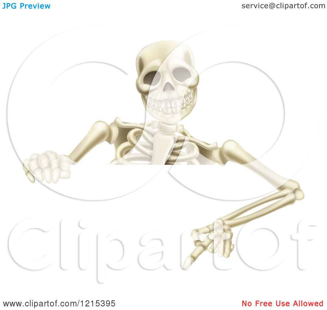 hight resolution of clipart of a happy human skeleton pointing down to a halloween sign royalty free vector illustration by atstockillustration