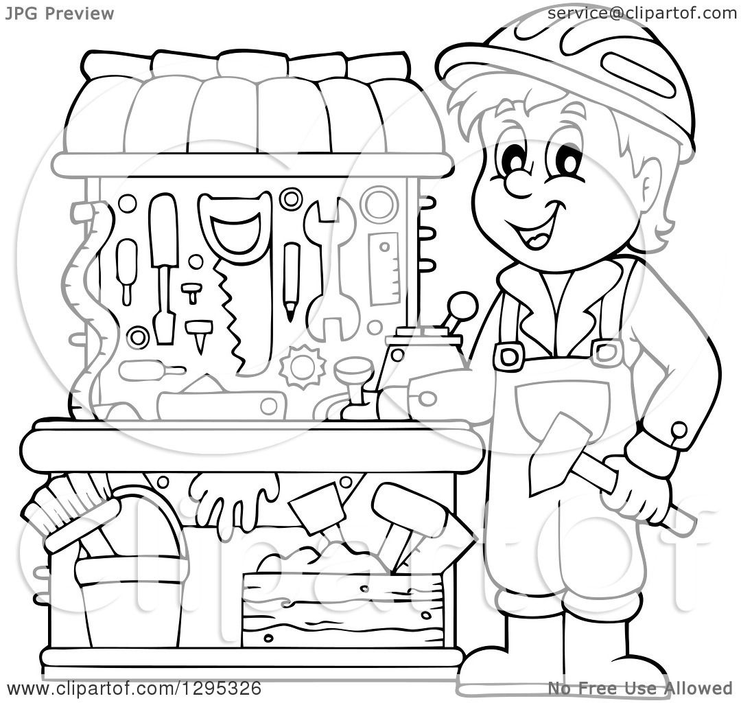 Clipart Of A Happy Lineart Black And White Boy Playing