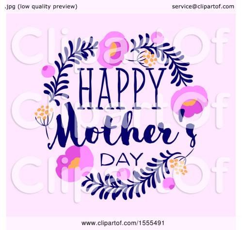 small resolution of clipart of a happy mothers day greeting in a floral frame on pink royalty