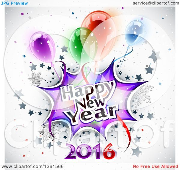 clipart of happy year 2016